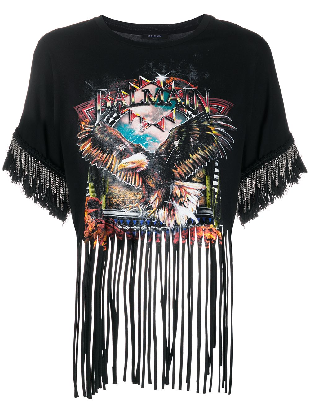 Printed Fringed T-Shirt