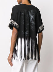 Printed Fringed T-Shirt Back