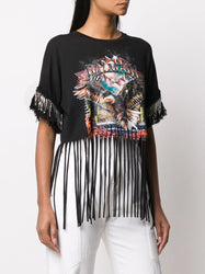 Printed Fringed T-Shirt Left