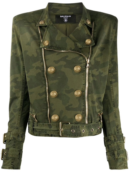 Camouflage Print Military Jacket