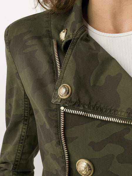 Camouflage Print Military Jacket - Zoom
