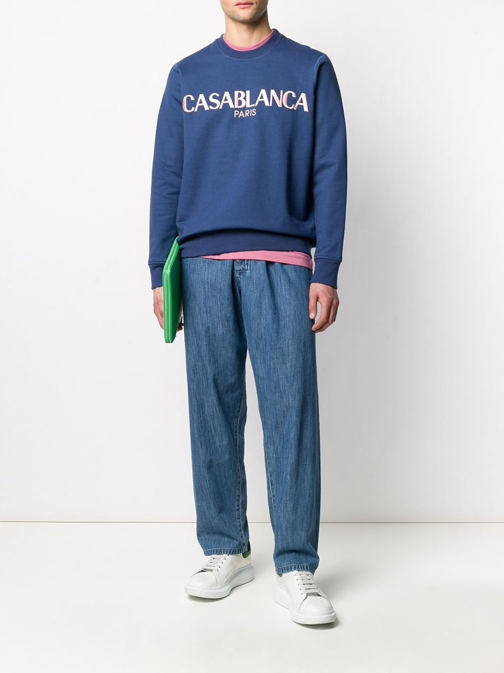 Casa Block-Logo Sweatshirt - Navy On Model