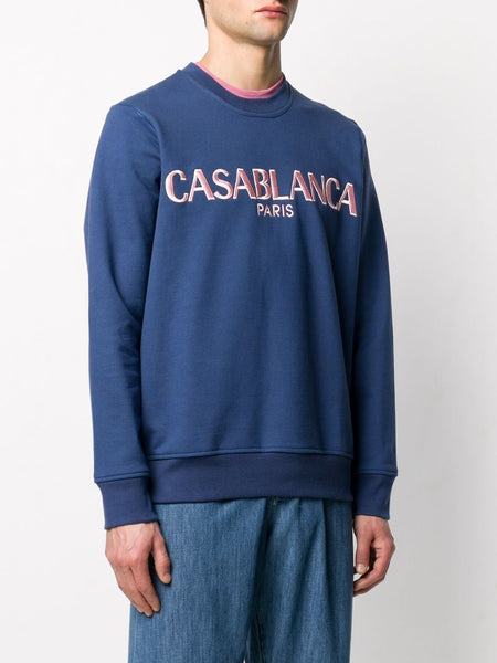 Casa Block-Logo Sweatshirt - Navy Left