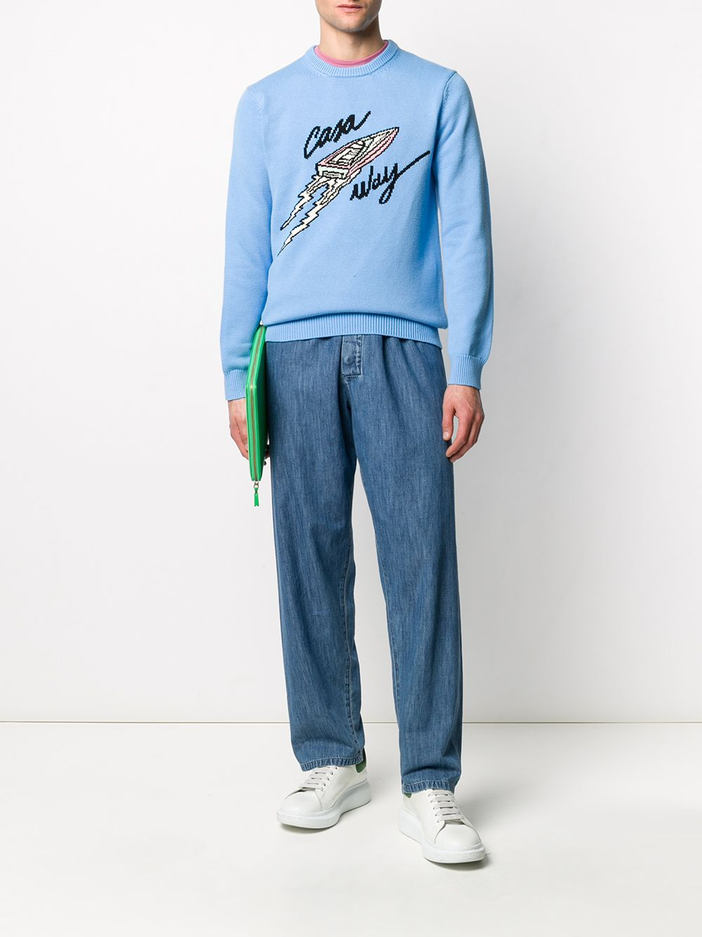 Casa Way Jumper- Blue On Model