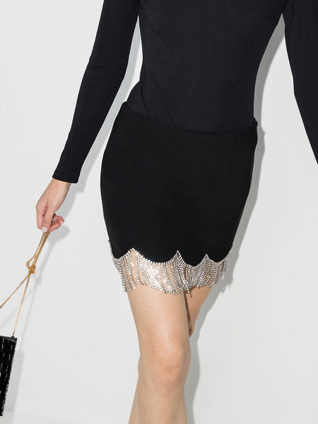 Crystal-embellished Scalloped Mini Skirt On Model 1