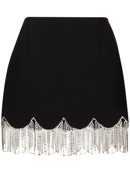 Crystal-embellished Scalloped Mini Skirt