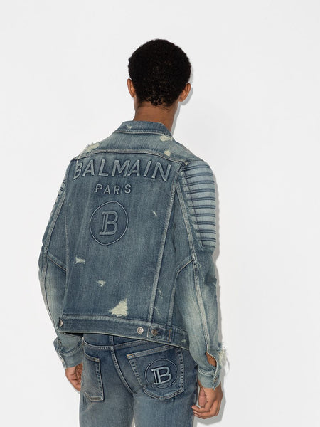 Men's Distressed Ribbed Denim Jacket