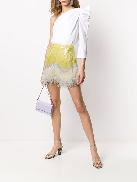 The Attico Sequin Feather Skirt On Model