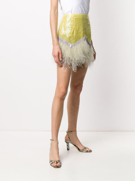 The Attico Sequin Feather Skirt Left