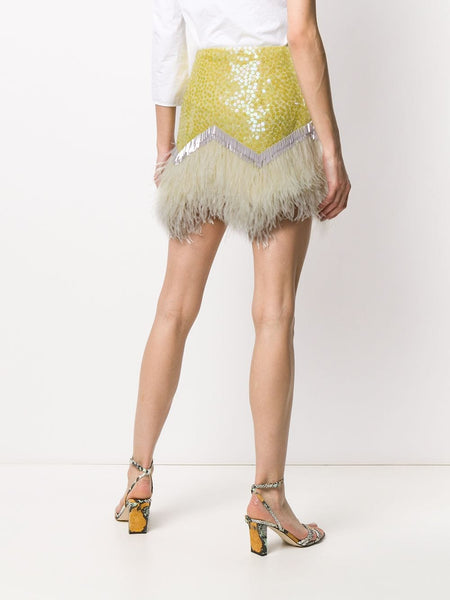 The Attico Sequin Feather Skirt Back