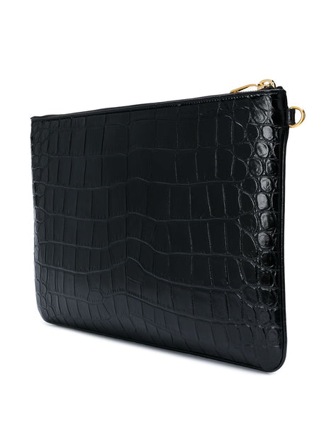Crocodile Effect Monogram Clutch Back