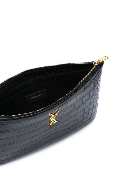 Crocodile Effect Monogram Clutch Open