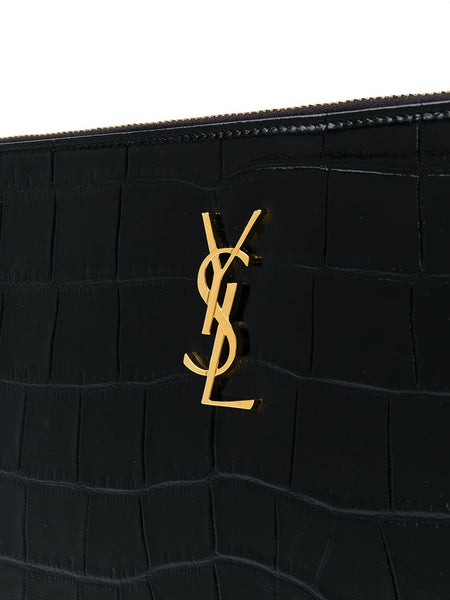 Crocodile Effect Monogram Clutch Logo