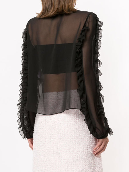 Ruffled Sheer Blouse