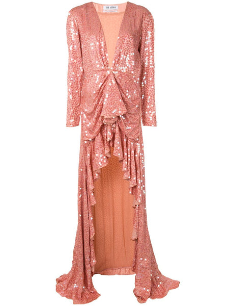 Plunge-Neck Sequin-Embellished Gown