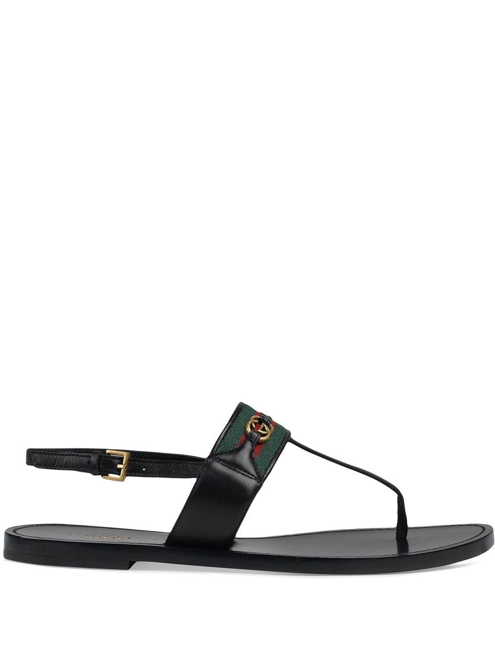 Web Stripe T-bar Flat Sandals - Black