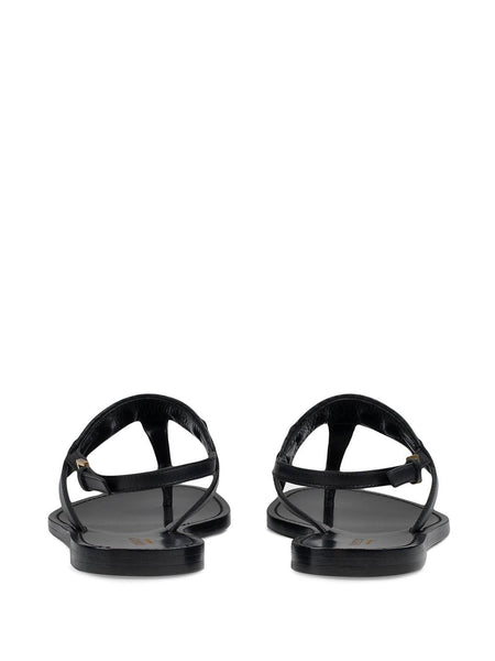 Web Stripe T-bar Flat Sandals - Black Back