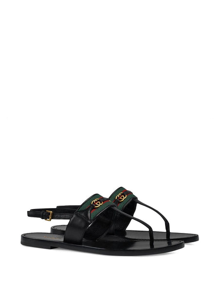 Web Stripe T-bar Flat Sandals - Black 3/4