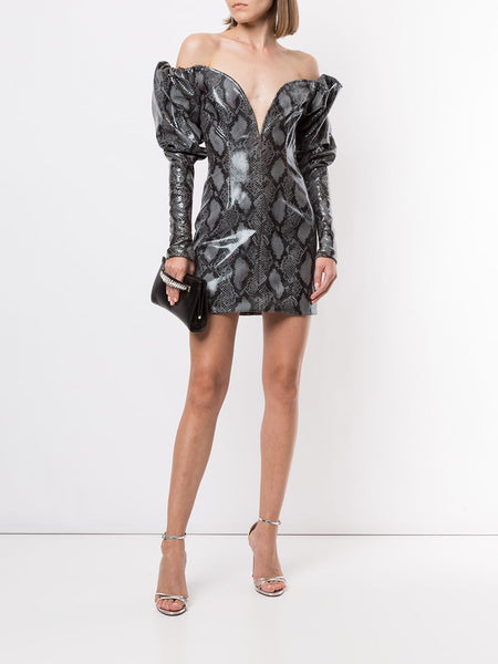 Python-Print Puff-Sleeve Dress On Model