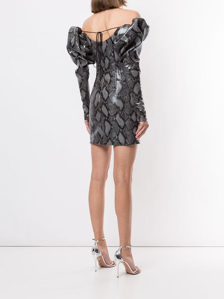 Python-Print Puff-Sleeve Dress Back