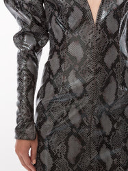 Python-Print Puff-Sleeve Dress Detail