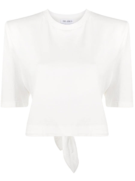 Padded Shoulders Cropped T-Shirt