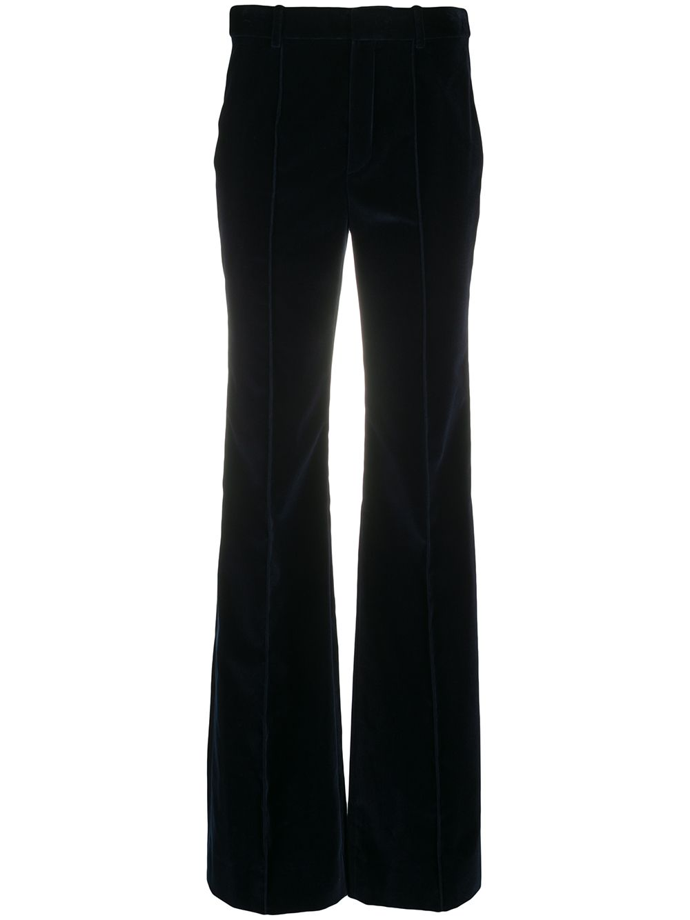 Velvet-Effect Flared Trousers