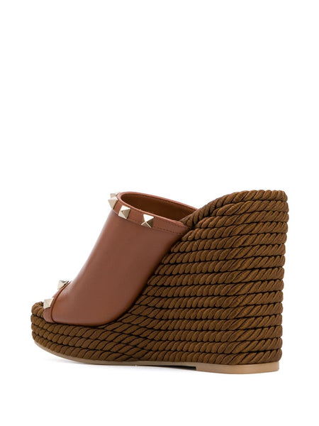 Rockstud Wedge Mules Back