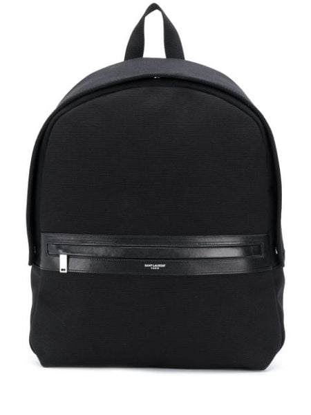 Cotton Backpack with Leather Detailing