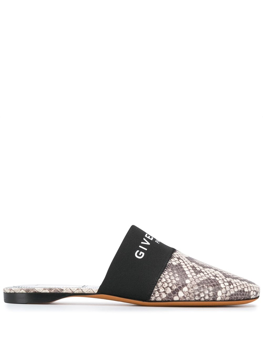Snake-Print Leather Mules