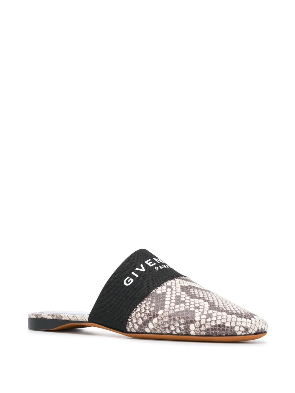 Snake-Print Leather Mules 3/4