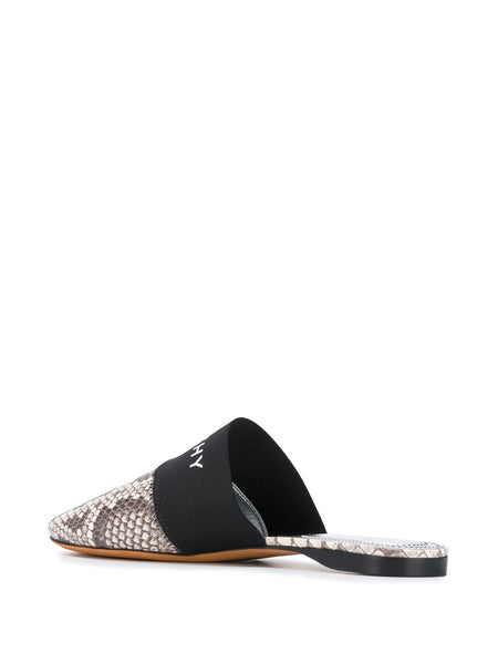 Snake-Print Leather Mules Back