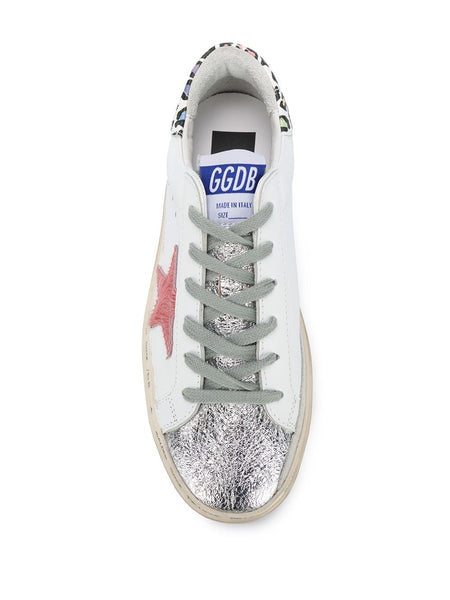 Distressed Metallic Toe Trainers Top