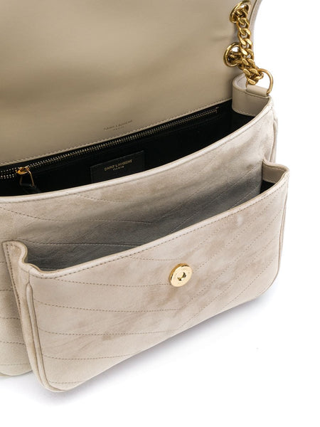 Monogram Suede Leather Shoulder Bag