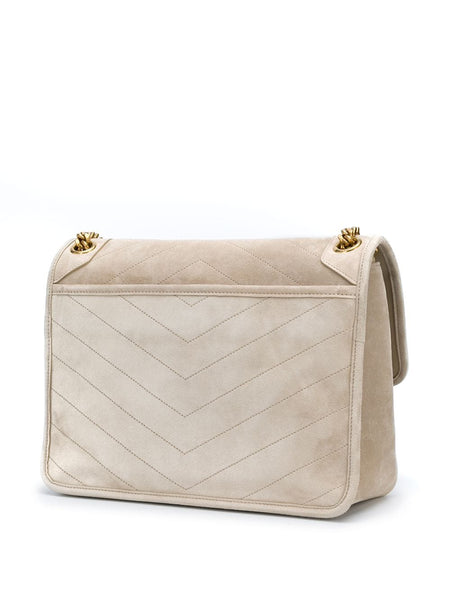 Monogram Suede Leather Shoulder Bag Back