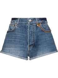 Chain-Link Detail Denim Shorts