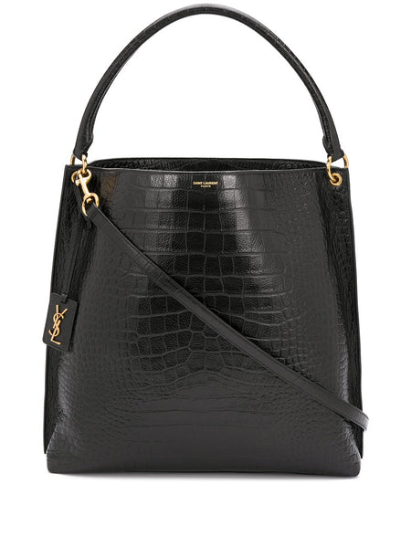 Logo Tag Crocodile-Embossed Tote Bag