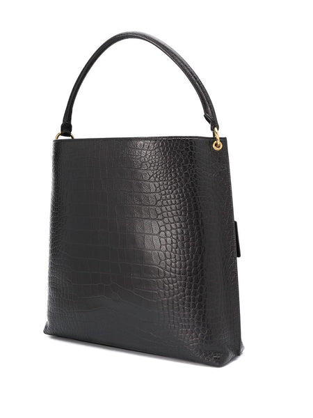 Logo Tag Crocodile-Embossed Tote Bag Back