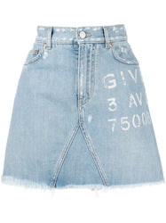 Logo-Print Denim Skirt