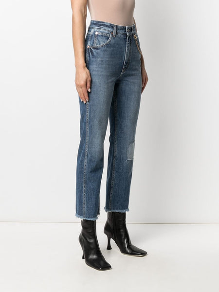 Chain-Detail High-Rise Jeans