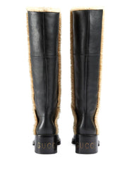 Shearling-Trim Knee-High Boots