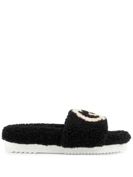 Interlocking G Shearling Slides