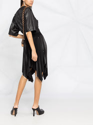 Pleated Handkerchief-Hem Dress