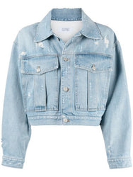 Cropped Distressed Denim Jacket