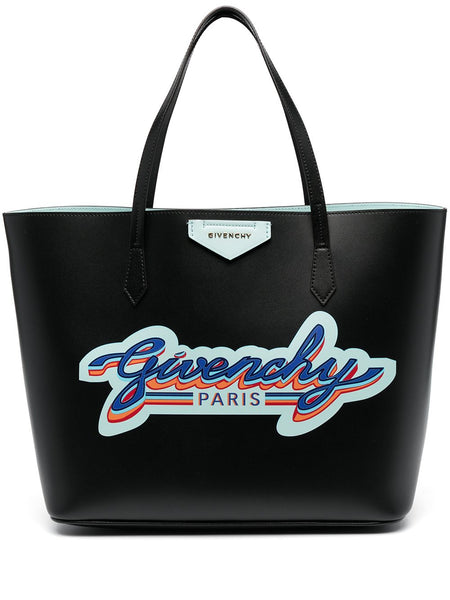 Logo-Print Leather Tote Bag