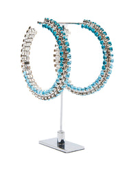 Stacked Ombre Aqua Crystal Hoop 4""