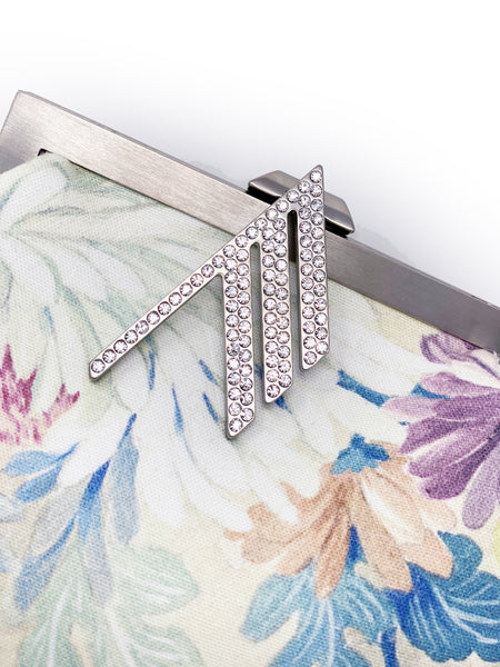 Embellished Floral-Print Cotton-Twill Clutch