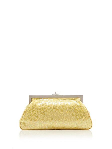 Alma Sequin-Embellished Iridescent Satin Clutch