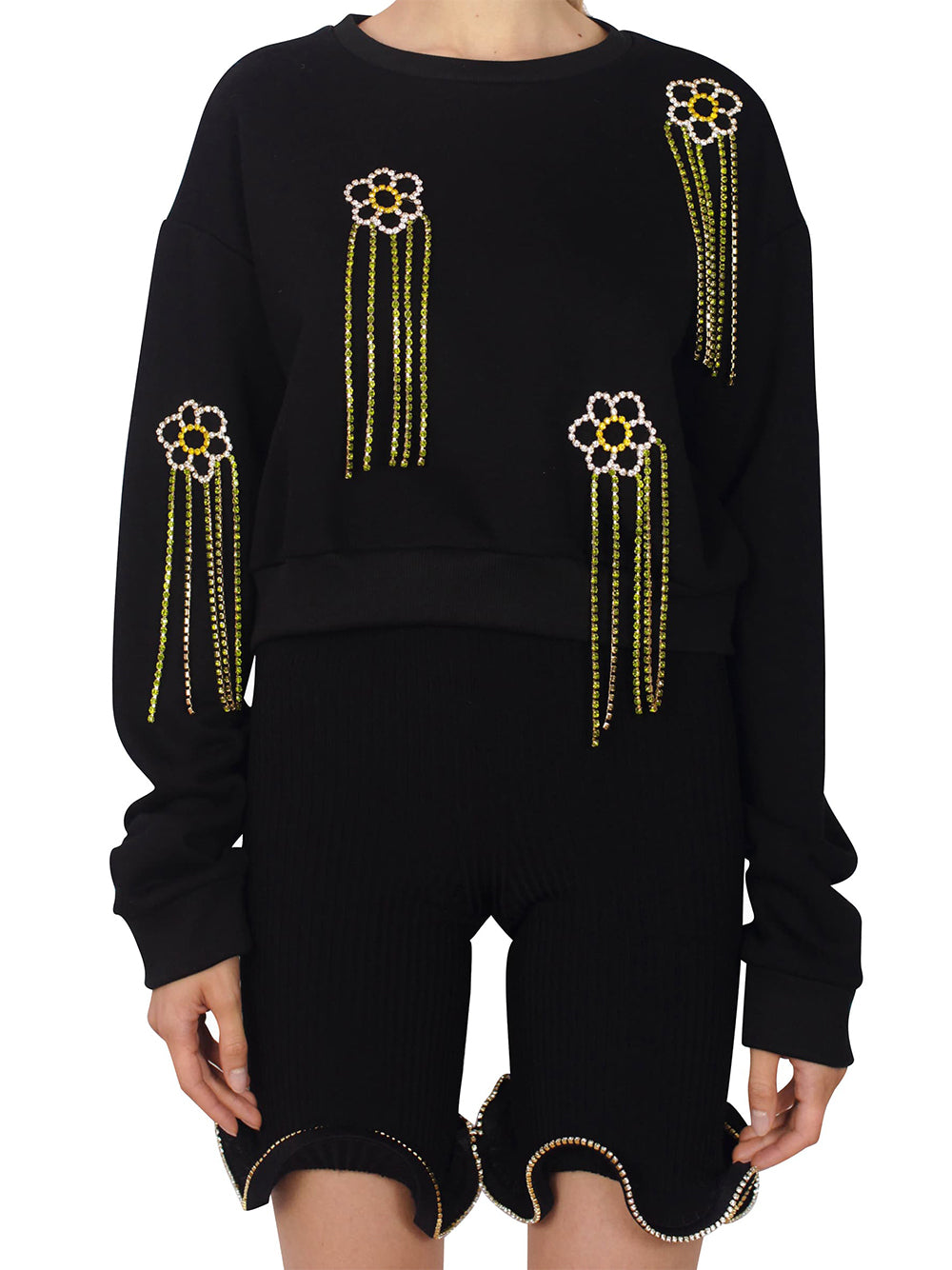 Floral Crystal Fringe French Terry Sweatshirt