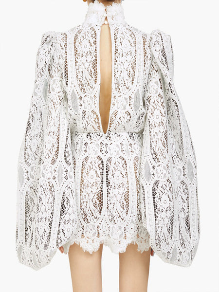 High-neck Balloon-sleeve Lace Mini Dress